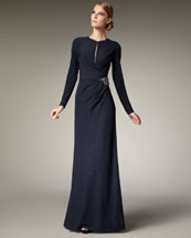 David Meister Exclusive Keyhole-Detail Gown
