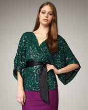Diane von Furstenberg Kallina Sequined Kimono Top
