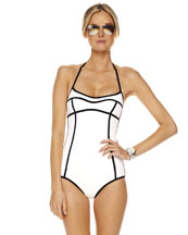 Michael Kors  Seamed Solids Retro Maillot Swimsuit