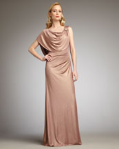 Badgley Mischka Platinum Label Draped Metallic Gown