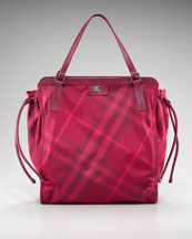 Burberry Packable Check Tote, Plum