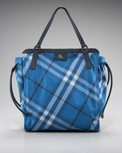 Burberry Packable Check Tote, Blue