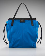 Burberry Packable Nylon Tote, Blue