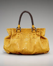 Carlos Falchi Sueded Python Pouf Tote