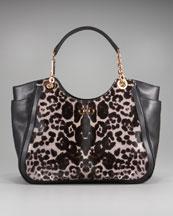 Salvatore FerragamoLeopard-Print Gancini Tote :  leather gancini leopard tote