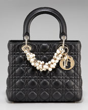 Dior - Lady Dior Medium Top Handle - Neiman Marcus :  charm bag dior gold