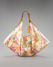 Salvatore Ferragamo-Floral Scarf-Print Tote-Neiman Marcus :  floral satin salvatore ferragamo gold