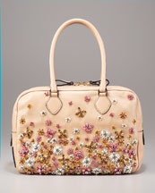 Valentino Napa Straw-Flower Duffel  :  flower bag straw nude