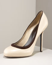 Sergio Rossi - Leather Contrast Pump - Neiman Marcus :  leather pump heel beige