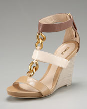 Fendi - Chain T-Strap Wedge Sandal from neimanmarcus.com