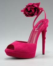 Yves Saint Laurent - Rosette-Ankle Sandal - Neiman Marcus :  yves saint laurent vera wang rosette rock and republic