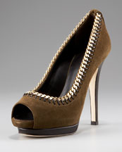 Giuseppe Zanotti Chain-Detail Peep-Toe Pump  :  shoes brown peeptoe metal
