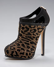Fendi Beaded Suede Bootie :  animal bootie shoe shoes