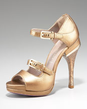 Versace Metallic Open-Toe Mary Jane