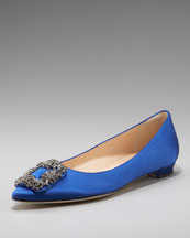 Manolo Blahnik Jeweled Satin Skimmer