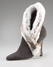 Manolo Blahnik Fur Ankle Boot