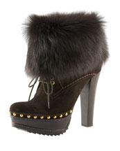 Prada Fur Cuff Ankle Boot