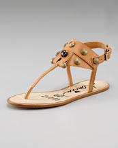 Lanvin Hinge & Crystal Thong Sandal
