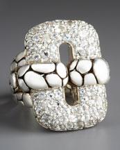 John Hardy White Topaz Kali Link Ring
