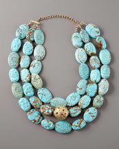 Devon Leigh Three-Strand Turquoise Necklace
