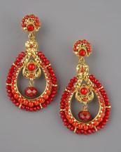 Jose & Maria Barrera Coral & Crystal Earrings