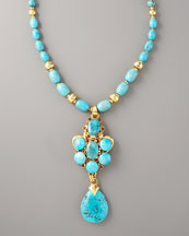 Jose & Maria Barrera Turquoise Long Pendant Necklace