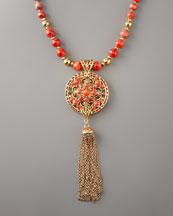 Jose & Maria Barrera Coral Long Pendant Necklace
