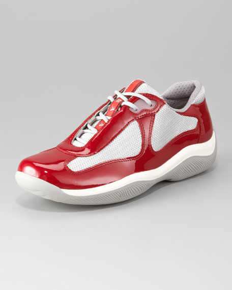 Patent Leather & Mesh Lace-Up Sneaker