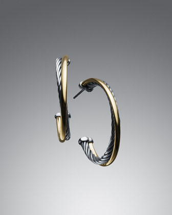 Crossover Extra-Small Hoop Earrings with Gold