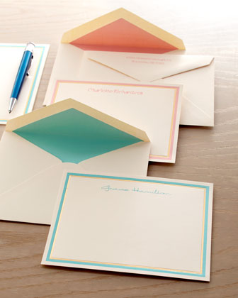 Pastel and Gold Bordered Cards and Envelopes