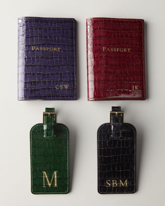 Crocodile-Embossed Patent-Leather Luggage Tag & Passport Case