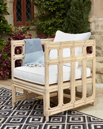 Faux-Bamboo Outdoor Chair & Cushion