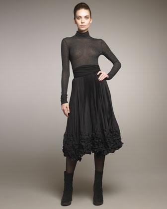 Knife-Pleated A-Line Skirt