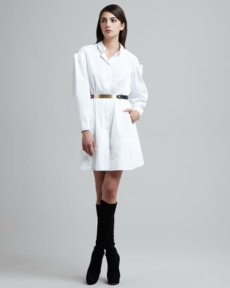 Folded-Sleeve Shirtdress