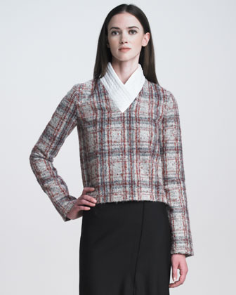 Puffer-Collar Plaid Top