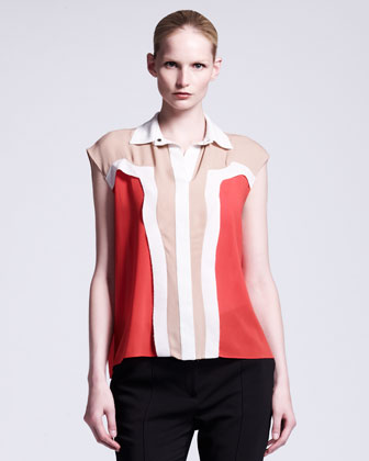 Collared Colorblock Blouse