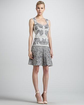 Bonded Jacquard Flounce Dress, Gray