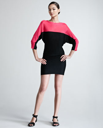 Colorblock Dolman-Sleeve Knit Dress