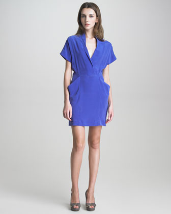 Paper-Collar Pocketed Silk Dress