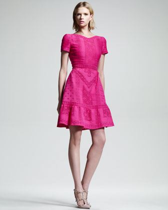 Voulant-Hem Guipure Dress