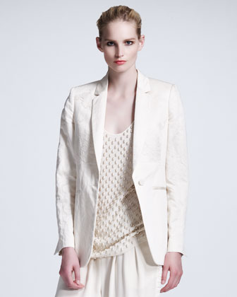Lace-Overlay Sateen Jacket