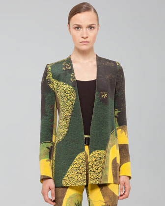 Long Garden-Print Silk Crepe Jacket