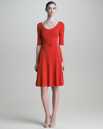 Scoop-Neck Half-Sleeve Dress
