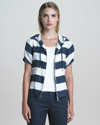 Short-Sleeve Nautical-Striped Jacket