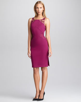 Lace-Inset Sheath Dress, Lotus