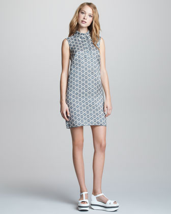 Sleeveless Point-Collar Dress