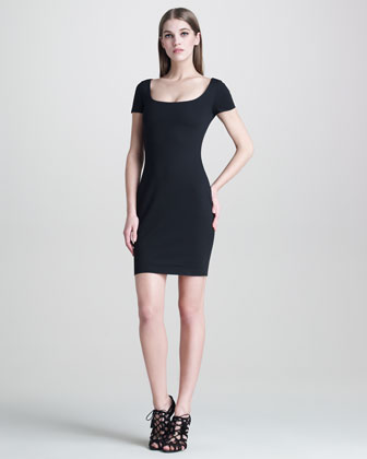 Heart-Back Fitted Jersey Dress