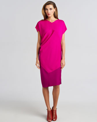 Colorblock Draped Shift Dress