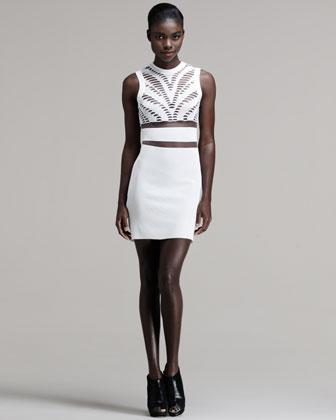 Engineered Zebra-Cutout Tank Dress