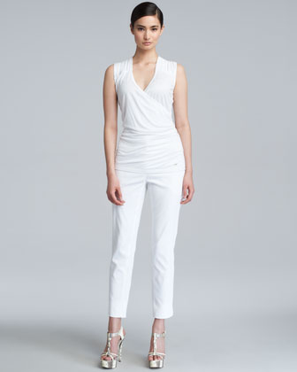 Techno Stretch Cotton Ankle Pants, White